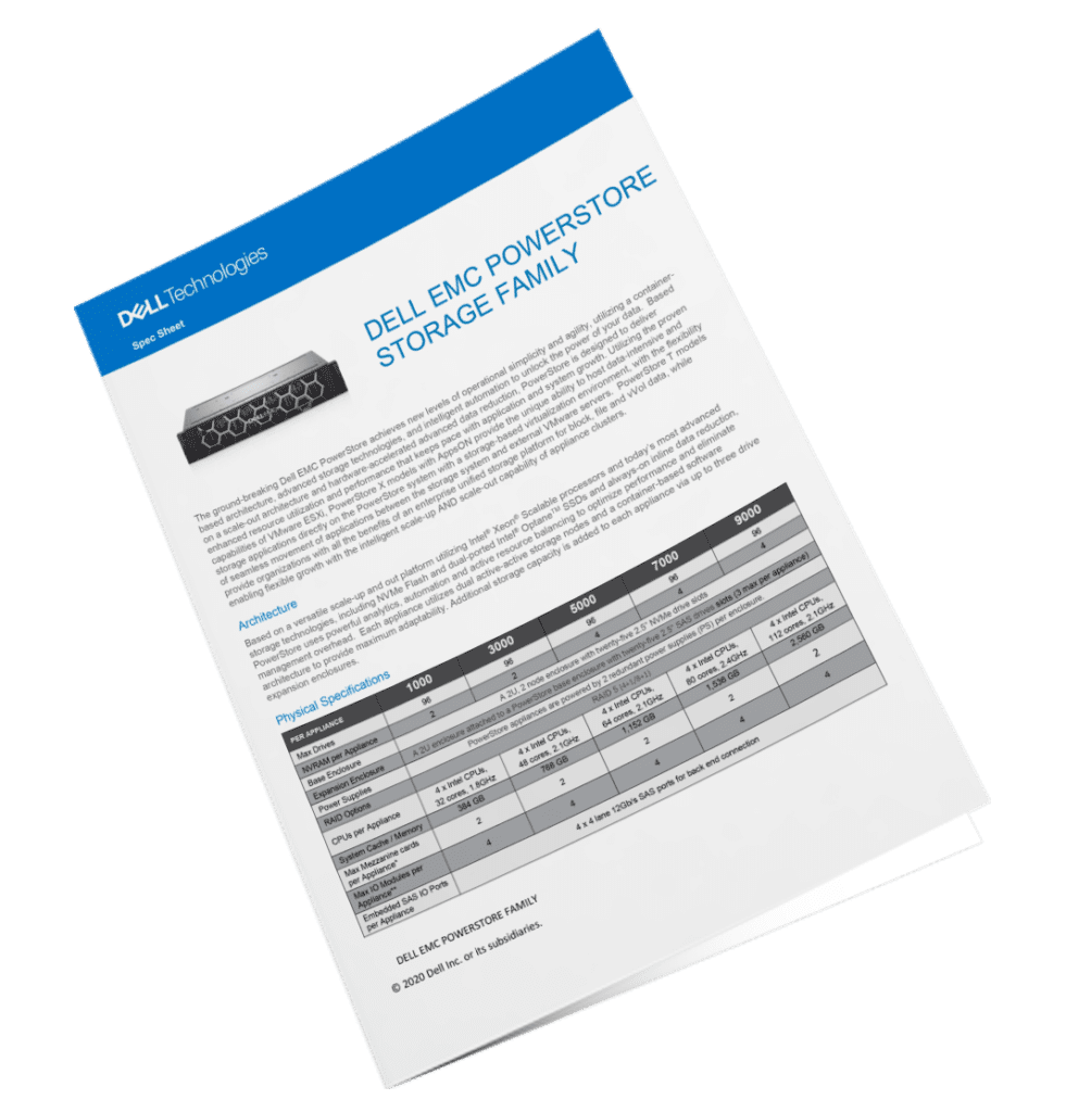 Dell emc powerstore spec sheet